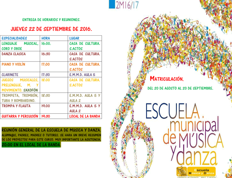 Matriculación y horarios Escuela de Música 2016/17