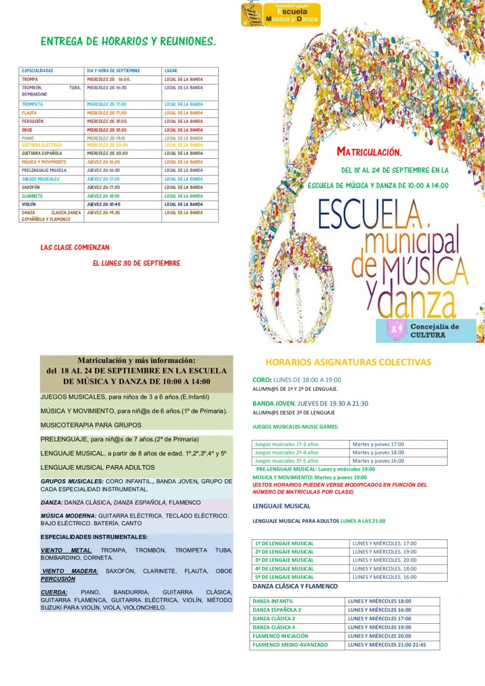 Matriculación y horarios Escuela de Música